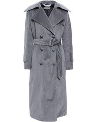 Nina Ricci Belted Cotton-blend Corduroy Trench Coat Gray