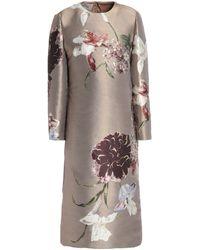 Valentino Metallic Silk-blend Floral-jacquard Dress Sand - Multicolor