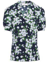 Michael Kors Floral-print Silk Crepe De Chine Shirt - Blue
