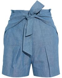 3.1 Phillip Lim Tie-front Pleated Cotton-chambray Shorts - Blue
