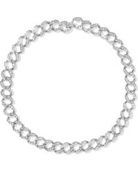 Kenneth Jay Lane - Woman Silver-tone Crystal Necklace Silver - Lyst