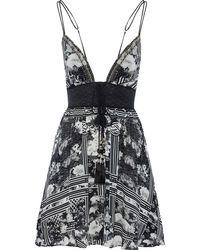 Camilla Wild Moonchild Lace-up Embellished Silk Mini Dress Black