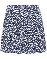 Hofmann Copenhagen Arielli Pleated Printed Woven Mini Skirt - Blue