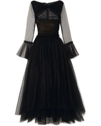 Khaite Jean Cutout Tulle Maxi Dress Black
