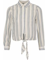 Solid & Striped - Tie-front Striped Cotton-gauze Shirt - Lyst