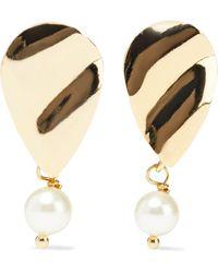 Iris & Ink Torny Hammered 18-karat Gold-plated Faux Pearl Earrings Gold - Metallic