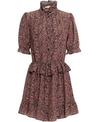 Vanessa Bruno Ruffle-trimmed Gathered Printed Silk Crepe De Chine Mini Dress - Black