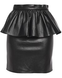 Ronny Kobo Alma Faux Leather Peplum Mini Skirt - Black