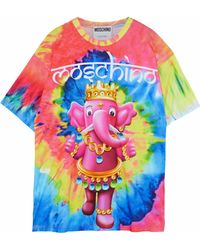 Moschino - Printed Tie-dyed Cotton-jersey T-shirt - Lyst