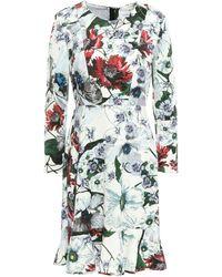 Erdem Fluted Floral-print Ponte Mini Dress White