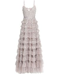 Needle & Thread - Woman Marie Tiered Embellished Tulle Gown Neutral - Lyst