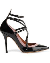 Valentino Garavani Love Latch Eyelet-embellished Patent-leather Court Shoes Black