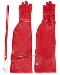 Rick Owens Leather Gloves Claret - Red