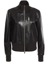 Theory Aviator Textured Patent-leather Jacket Black