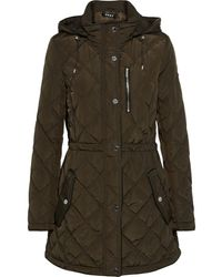 DKNY Quilted Shell Hooded Jacket - Green