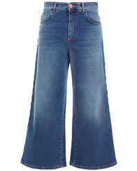 Vivetta Cropped Faded High-rise Wide-leg Jeans Mid Denim - Blue