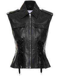 RED Valentino Lace-up Leather Vest - Black