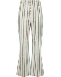3.1 Phillip Lim Snap-detailed Striped Cotton Kick-flare Trousers Cream - Natural