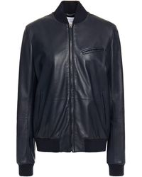 Gabriela Hearst Leather Bomber Jacket Midnight Blue