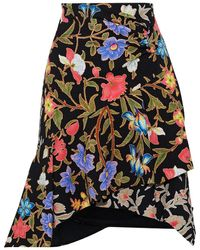 Peter Pilotto Asymmetric Layered Floral-print Cloqué Skirt - Black