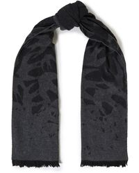 McQ Frayed Jacquard-knit Wool-blend Scarf - Grey