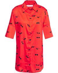 Victoria, Victoria Beckham Printed Twill Shirt - Red