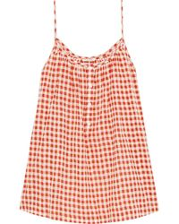 American Vintage Gathered Gingham Cotton Camisole - Multicolour