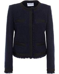Claudie Pierlot Frayed Tweed Jacket Navy - Blue