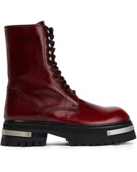 Ann Demeulemeester Textured-leather Combat Boots
