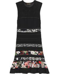 Roberto Cavalli - Panelled Open-knit And Floral-print Satin Mini Dress - Lyst