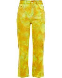 MSGM Hoch sitzende cropped jeans mit geradem bein und batikmuster - Gelb