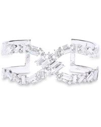 Noir Jewelry Récolter X Rhodium-plated Crystal Cuff Silver - Metallic