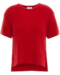 American Vintage Brushed Ribbed-knit Top - Red