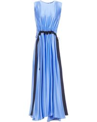 ROKSANDA Keeva Gathered Two-tone Silk-satin Midi Dress Light Blue