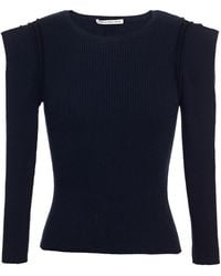 Autumn Cashmere Ribbed Cotton-blend Top - Blue