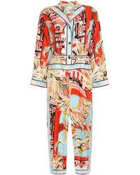 Emilio Pucci - Woman Belted Perforated Printed Silk-twill Jumpsuit Coral - Lyst