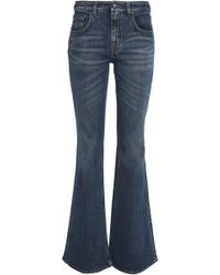 Victoria, Victoria Beckham - Faded Mid-rise Flared Jeans Dark Denim - Lyst