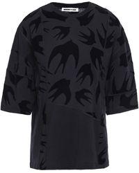 McQ Flocked Cotton-jersey T-shirt Black