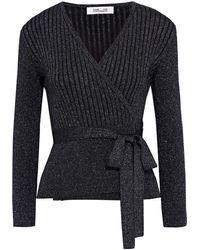 Diane von Furstenberg Bonnie Ribbed Metallic Merino Wool-blend Wrap Cardigan - Black