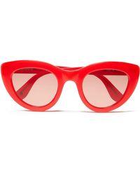 Ganni Mia Cat-eye Acetate Sunglasses - Red