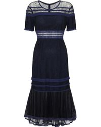 Jonathan Simkhai - Crochet-trimmed Corded Lace And Tulle Dress Midnight Blue - Lyst
