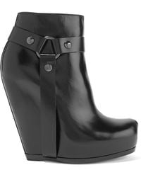 Rick Owens - Leather Wedge Ankle Boots - Lyst