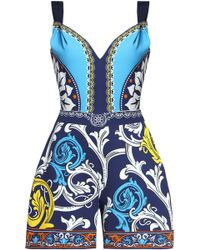 Mary Katrantzou - Printed Crepe Playsuit - Lyst