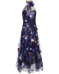 Marchesa notte Floral-appliquéd Gathered Floral-print Tulle Gown - Blue
