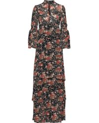 byTiMo Tiered Floral-print Georgette Maxi Dress Black