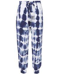 Ulla Johnson Charley Track Pants Aus Baumwollfrottee Mit Batikmuster - Blau