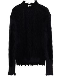 Acne Studios Distressed Cable-knit Jumper - Black
