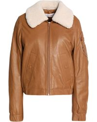 See By Chloé - Shearling-trimmed Leather Jacket Light Brown - Lyst