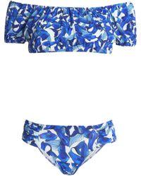 Isolda Off-the-shoulder Printed Bikini Blue