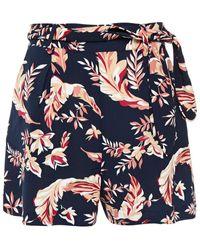 Joie Varsha Belted Printed Crepe Shorts - Blue